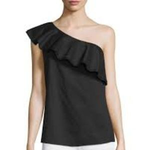 Theory One Shoulder Ruffle Black Top